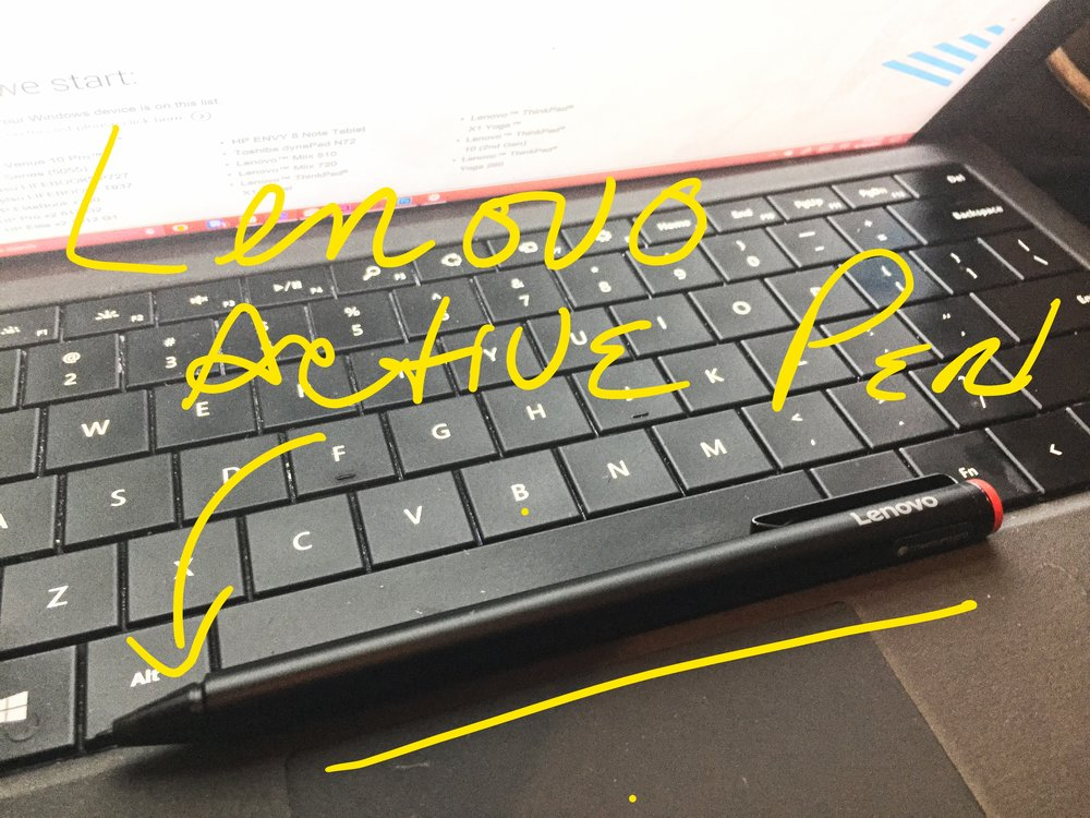 Lenovo Active Pen on Surface Pro 3 Keyboard