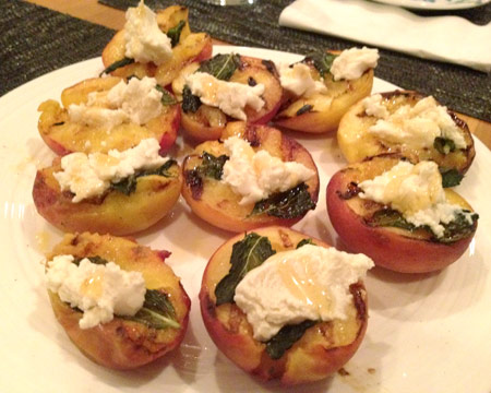 Grilled Peaches with Mint and Goat Cheese