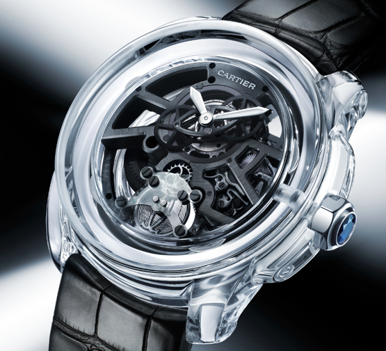 The Cartier ID Two Concept Watch - Complete with a transparent monobloc ceramic case and 32-day power reserve.
