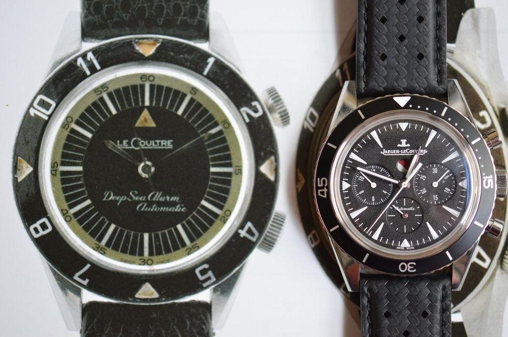 The JLC Deep Sea chrono next to an original 1959 Deep Sea Alarm