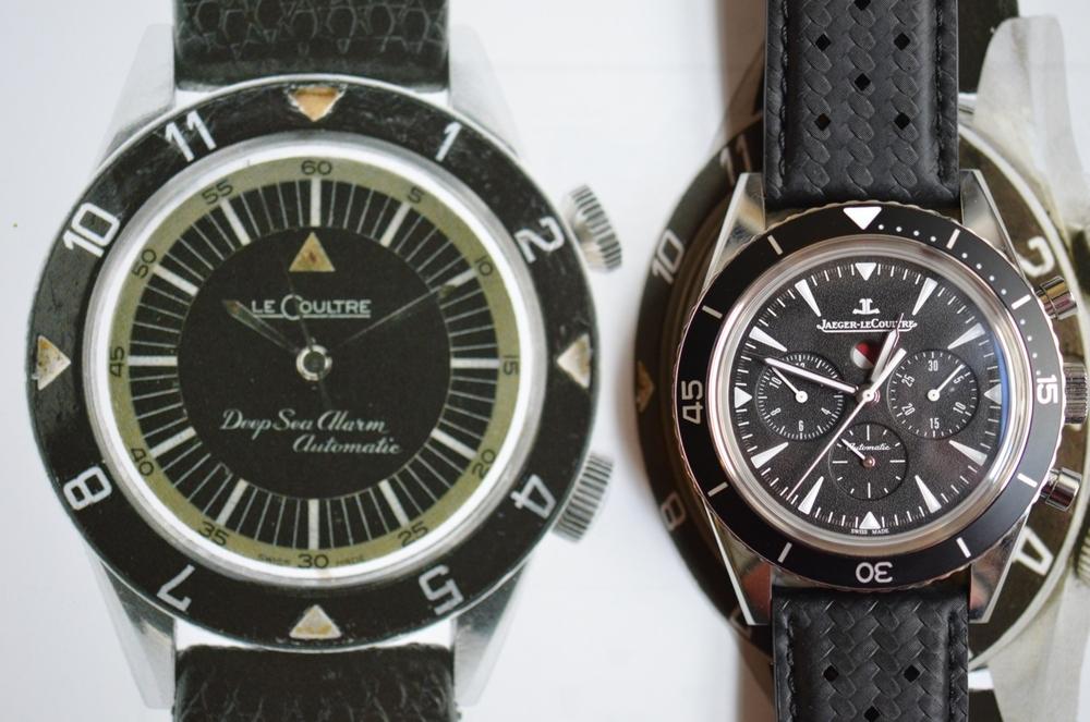 The JLC Deep Sea chrono next to an original 1959 Deep Sea Alarm