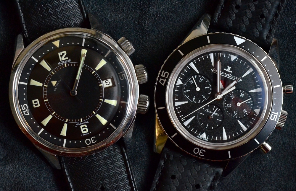 A 1968 Polaris on an original tropic strap next to 2012's Deep Sea Chrono on a calfskin strap.