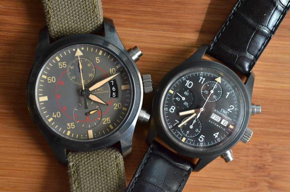 The IWC 3705 Fliegerchronograph in ceramic next to 2012's Miramar Top Gun in ceramic.