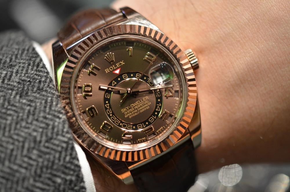 Rolex Sky-Dweller Reference 326935 on brown alligator strap.