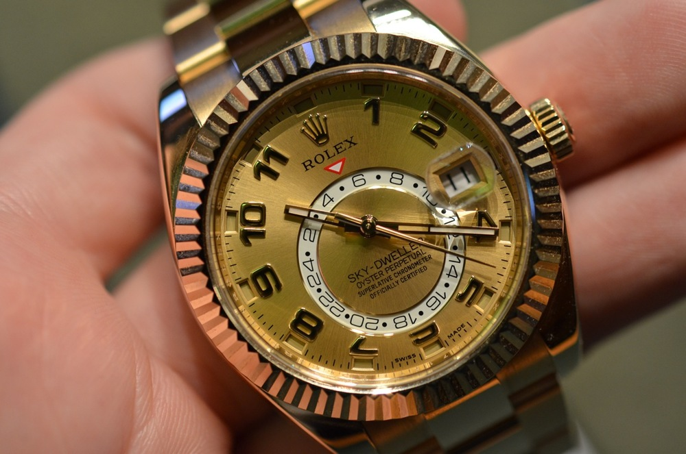 Rolex Sky-Dweller reference 326938 in yellow gold.