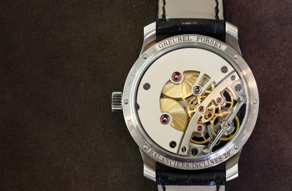 The movement on this watch is practically completely unfinished, and is the only GF to NOT feature a tourbillon.