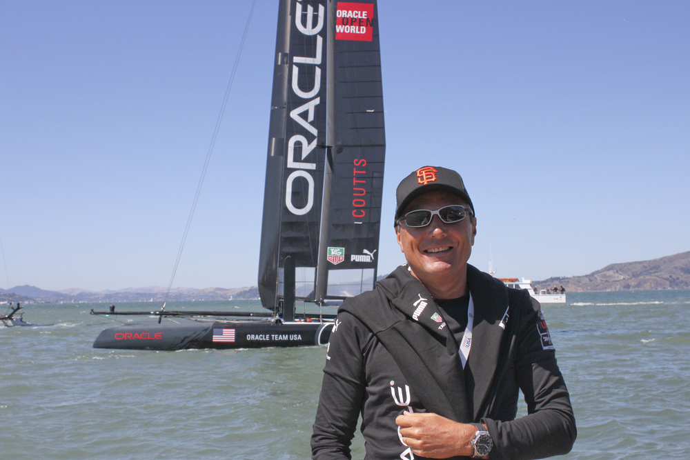 TAG Heuer CEO Jean-Cristophe Babin with the Weekend's Match Race Winner