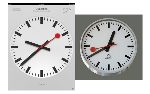 iOS at left, Railway Clock at right