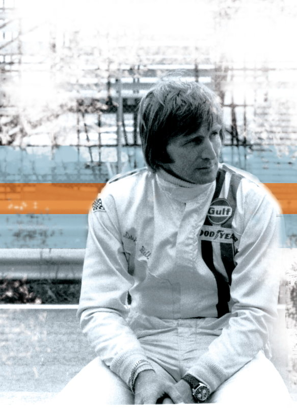 Derek Bell wearing his Heuer Autavia
