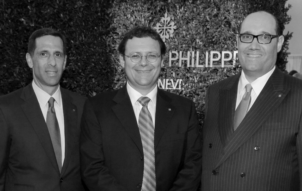 Patek Philippe president, Thierry Stern, flanked by Patek USA President, Larry Petinelli (L) and Geary's president, Thomas Blumenthal (R)