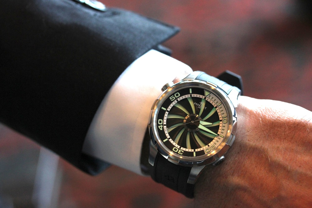 A Turbine Glowing on Mr. Salvi's Wrist
