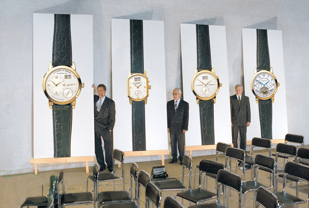 "The scene 18 years ago today, when A. Lange & Sohne introduced its first four models: The LANGE 1, the SAXONIA, the TOURBILLON ""Pour le Mérite"", and the ARKADE"