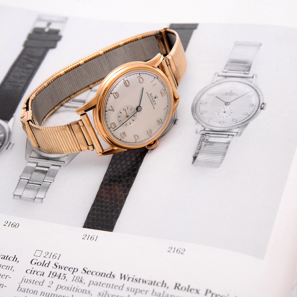 Warhol's Rose Gold Rolex with Auction Catalog Entry