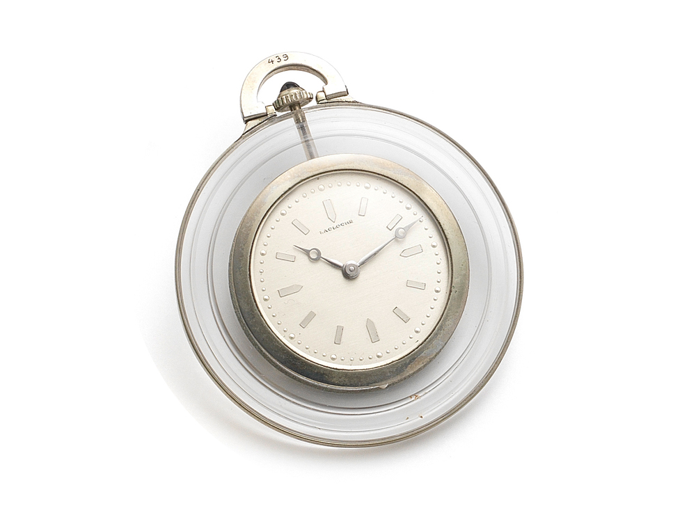 Platinum and Rock Crystal Pocket Watch