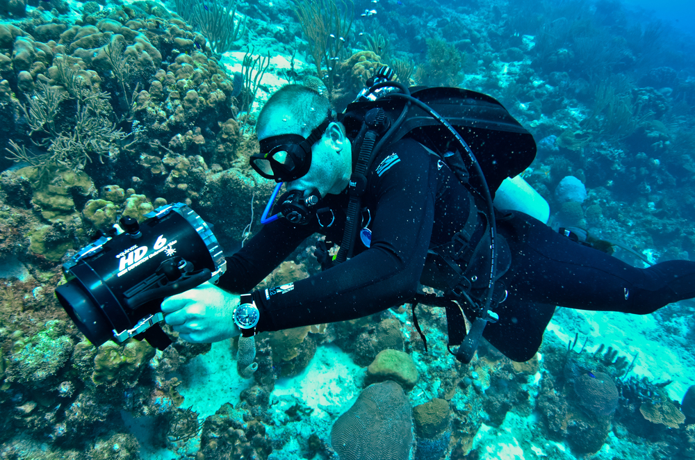 The author diving in Bonaire with the Vulcain Cricket Nautical