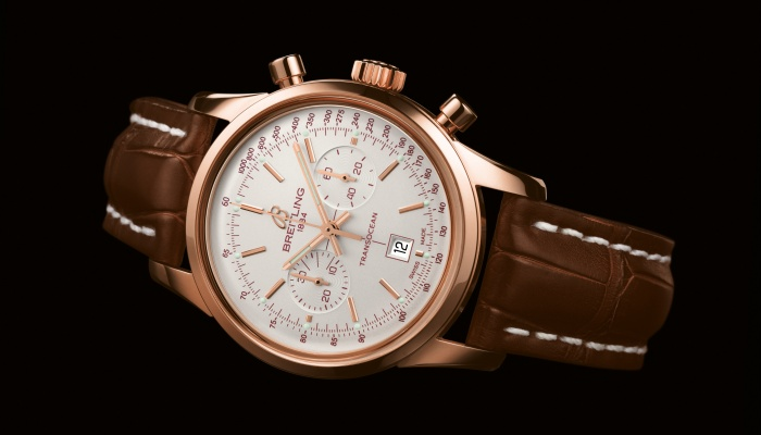 The Transocean 38 In Rose Gold With Crocodile Strap