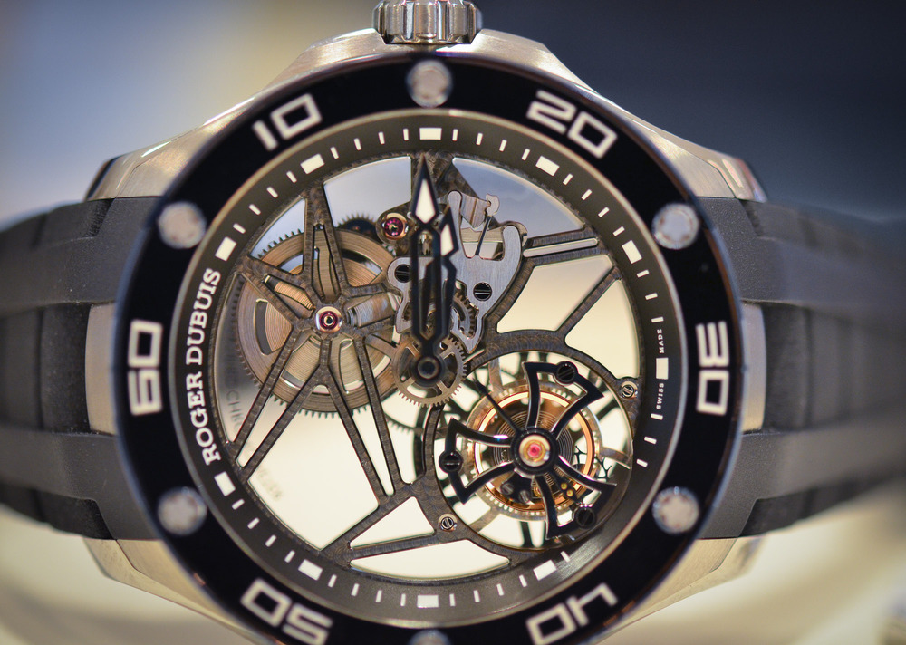 The Roger Dubuis Pulsion Tourbillon, available at SCL.