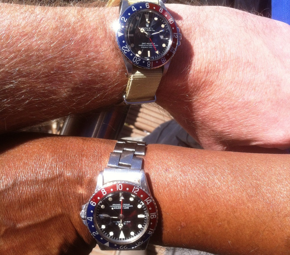 Two Rolex GMT-Masters. (the author's at top)