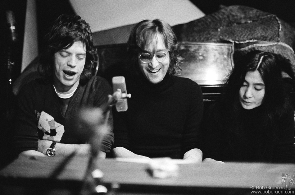 Jagger wearing a Heuer with John Lennon and Yoko Ono