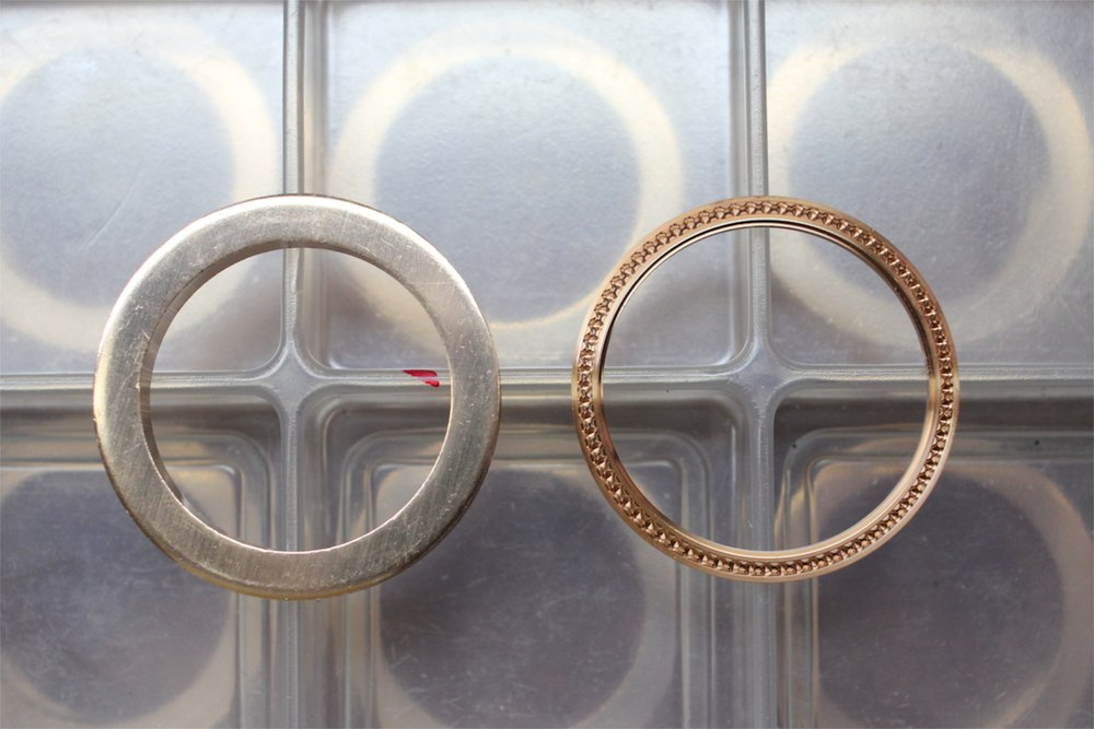 A bezel blank and a bezel ready for gem-setting