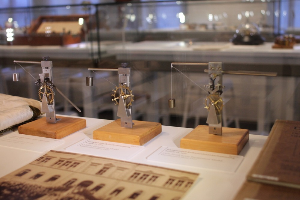 Escapement models used to teach students at the watchmaking school