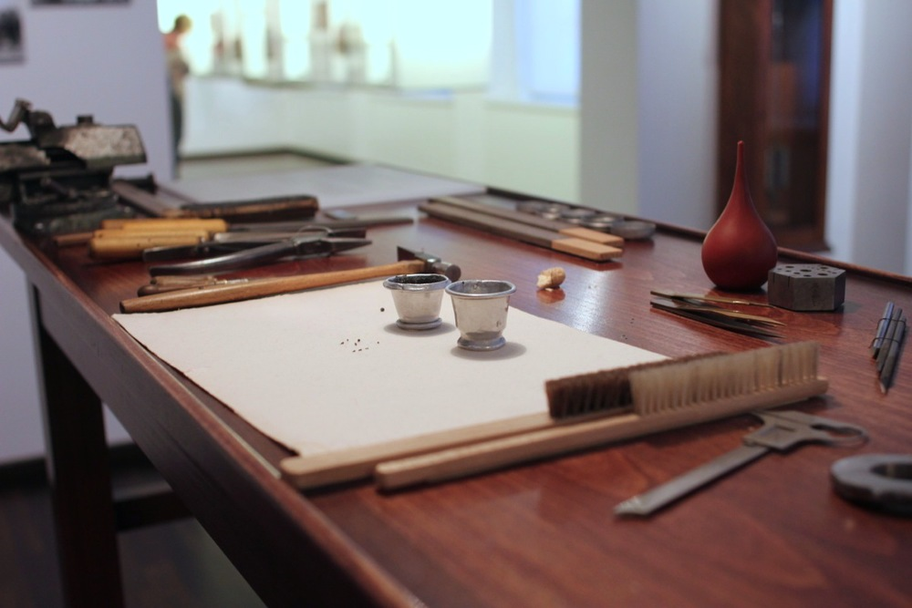 A reconstructed watchmaker's bench from the turn of the twentieth century
