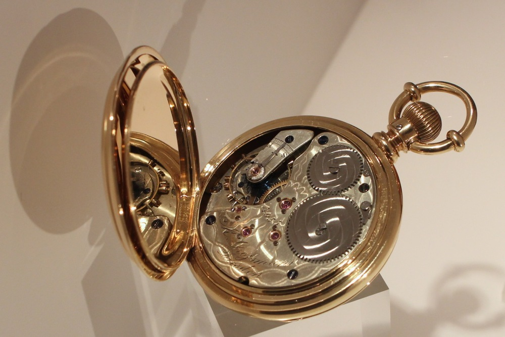 Moritz Grossmann pocket watch with German silver movement and American gold case, made for the American market, 1875