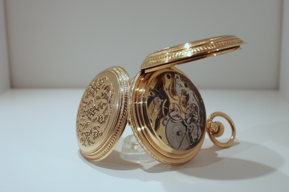 Julias Assmann ornate gold chronograph pocket watch, 1890