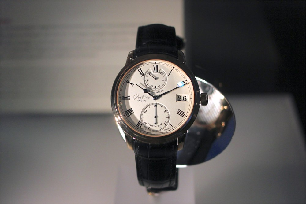 Modern pieces by Glashütte brands, such as this watch by Glashütte Original round out the museum's collection