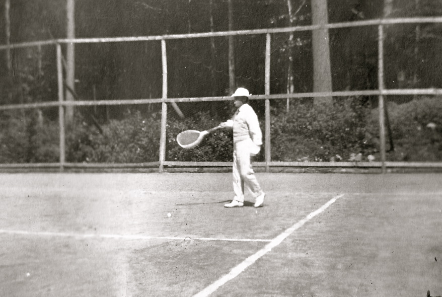 Henry Graves, Jr. playing a game of tennis on the court he had carved out part of the woodland on Eagle Island (Courtesy Stacy Perman, A Grand Complication)