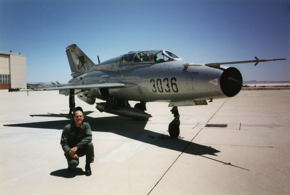 Torman in front of the MiG 21 UM at Edwards Air Force Base