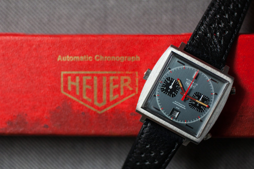 Grey Heuer Monaco WIth Box, Papers, and Bracelet