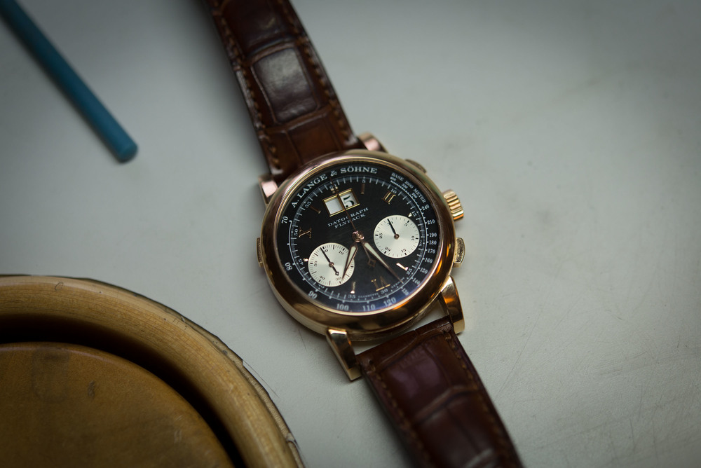 """Dufour's personal A. Lange & Sohne Datograph in pink gold - he says he bought this watch because he """"couldn't afford it in platinum."""""""