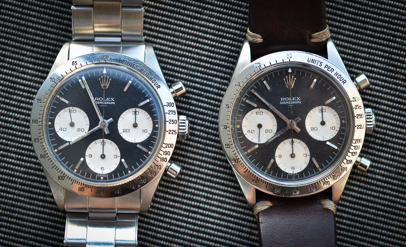 The watch on the left has original hands, the one on the right does not.