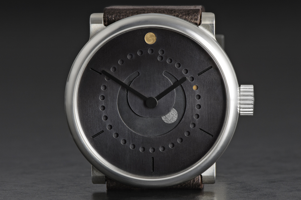 "Hammered Silver Moon And Milled Brass ""Sun"" On Dark Patinated Brass Dial"