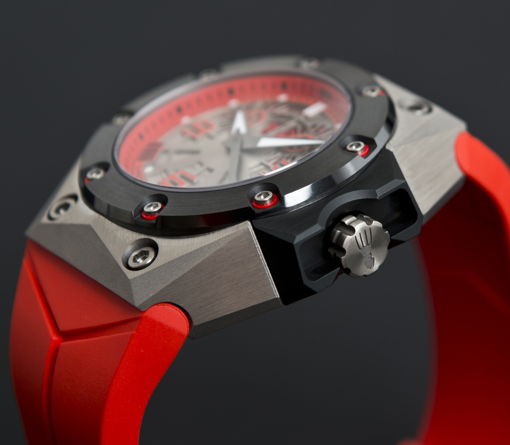 The Oktopus-decorated Crown, Brushed Titanium Case, and Grained Ceramic Bezel