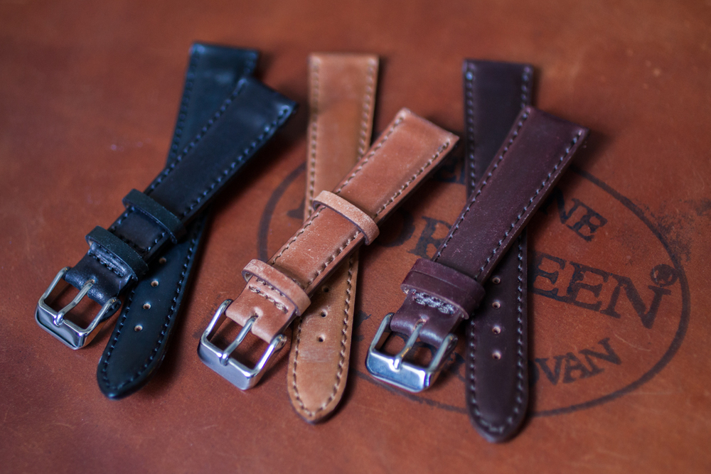 Lined And Stitched Shell Cordovan Straps