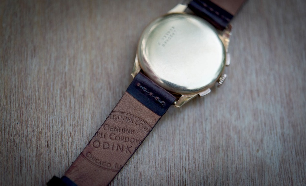HODINKEE/Horween Logo Stamped Into The Back Of A Color #8 Unlined Strap