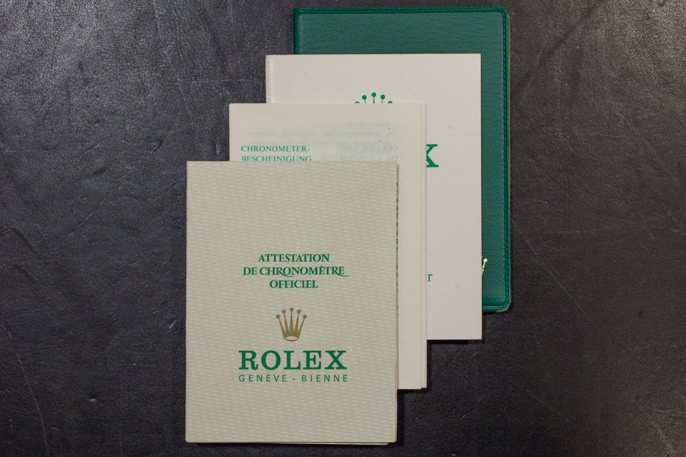 Chronometer Papers, Rolex Oyster Booklet, and Papers Wallet