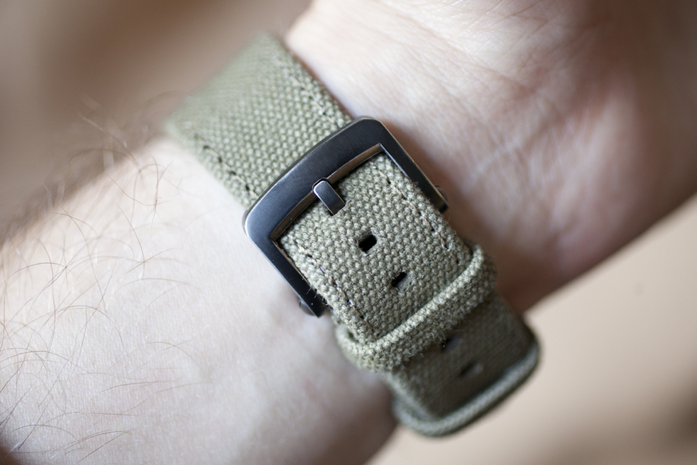 Olive Canvas Strap With Gunmetal Buckle