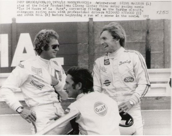 McQueen with Siffert and Bell - McQueen is wearing an Autavia here, not a Monaco.