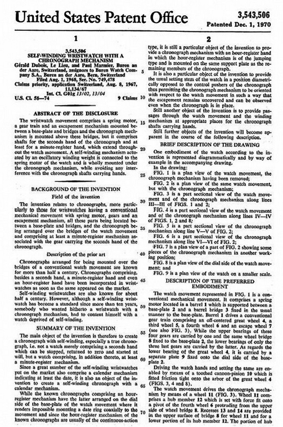 US Patent for Self-Winding Chronograph