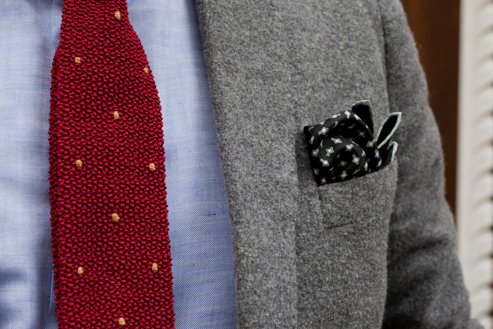 Both the knit tie and pocket square are available at shop.hodinkee.com