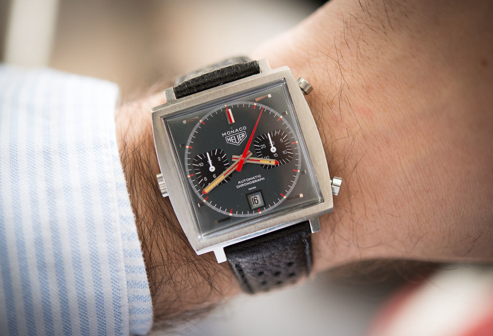 Heuer Monaco (With Grey Dial) On The Wrist