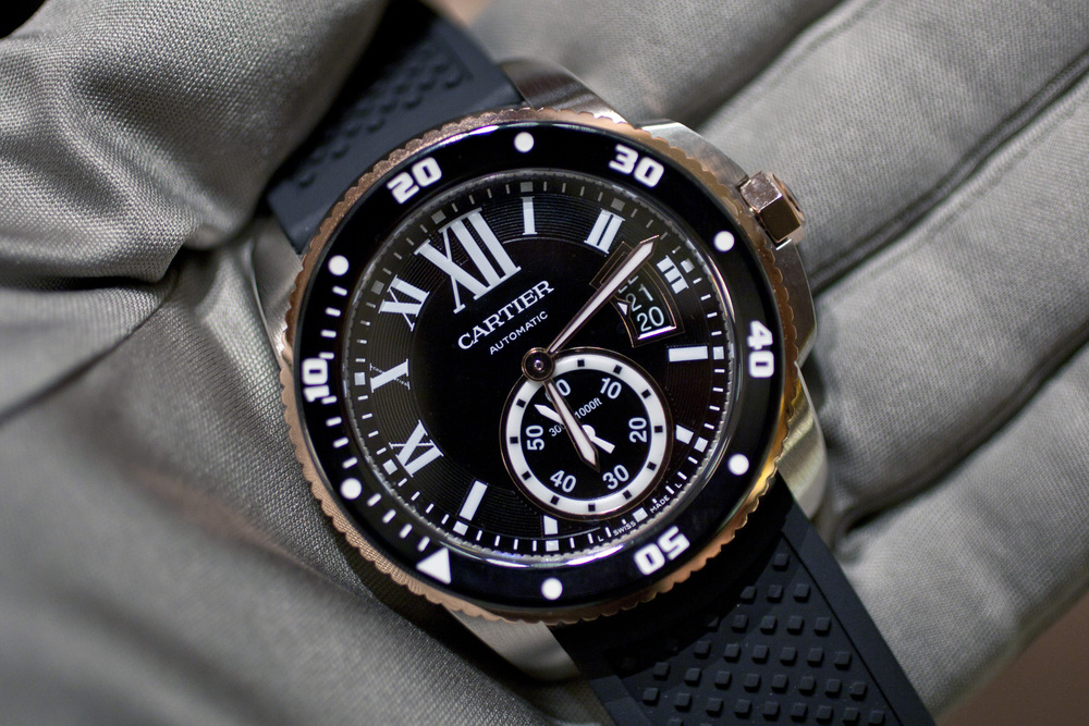 Two-Tone Pink Gold and Stainless Steel Calibre de Cartier Diver
