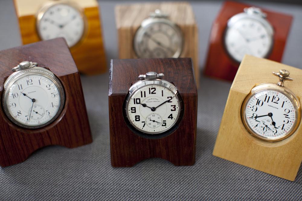 American Pocket Watches As Desk Clocks