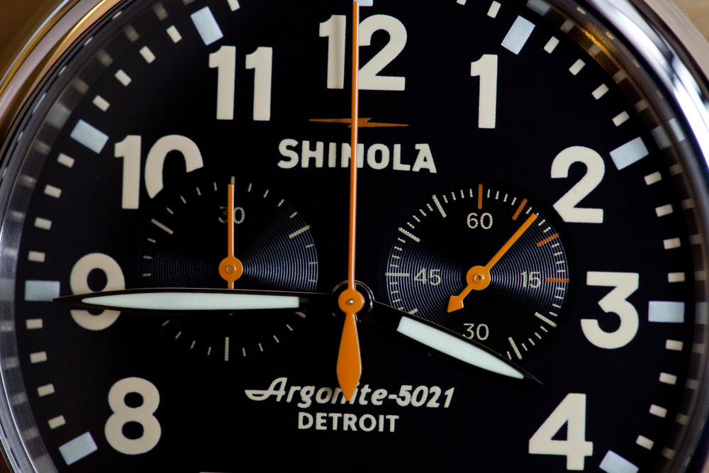 Large Arabic numerals and high-contrast orange accents
