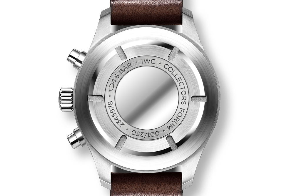 The solid stainless steel case back features numbered edition engraving