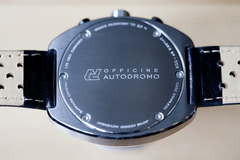 Autodromo caseback, concealing the Seiko VK64 movement