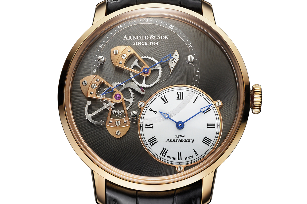 An elegant transparent sapphire crystal seconds track overlays the beat second mechanism at 11 o'clock.